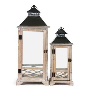Great Price Rectangular Decorative Metal/Wood Lantern By Rosecliff Heights