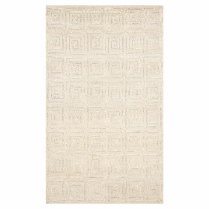 creme greek key area rug