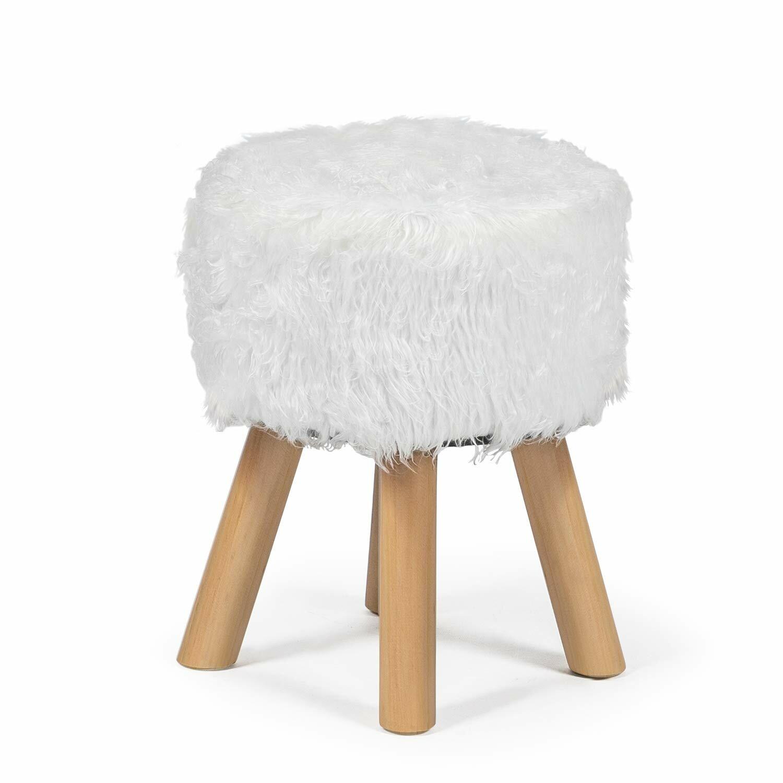 Admirable Leander Faux Wool Fur Round Decorative Vanity Stool Evergreenethics Interior Chair Design Evergreenethicsorg