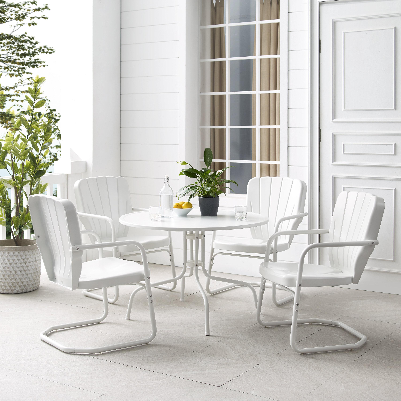 Crosley Ridgeland 5pc Outdoor Dining Set White Gloss White Satin Dining Table 4 Chairs Reviews Wayfair