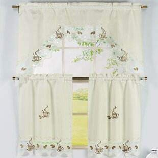 Coffee Talk 3 Piece Embroidered Kitchen Valance And Tier Set
