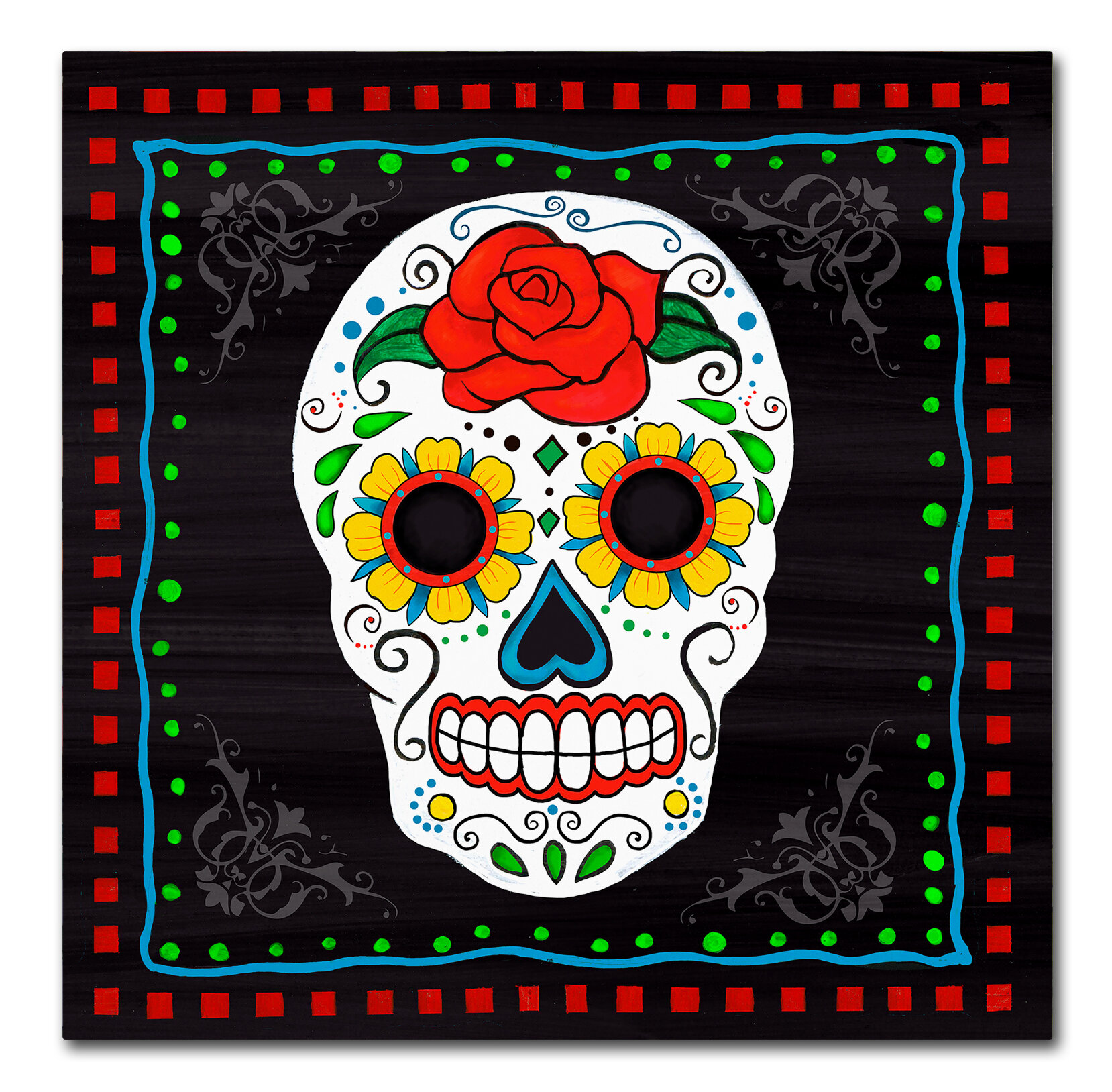 Trademark Art Sugar Skull I Graphic Art Print On Wrapped Canvas Wayfair
