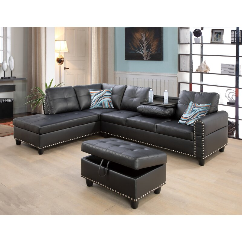 Red Barrel Studio Louroukina 97 2 Faux Leather Left Hand Facing Corner Sectional With Ottoman Wayfair