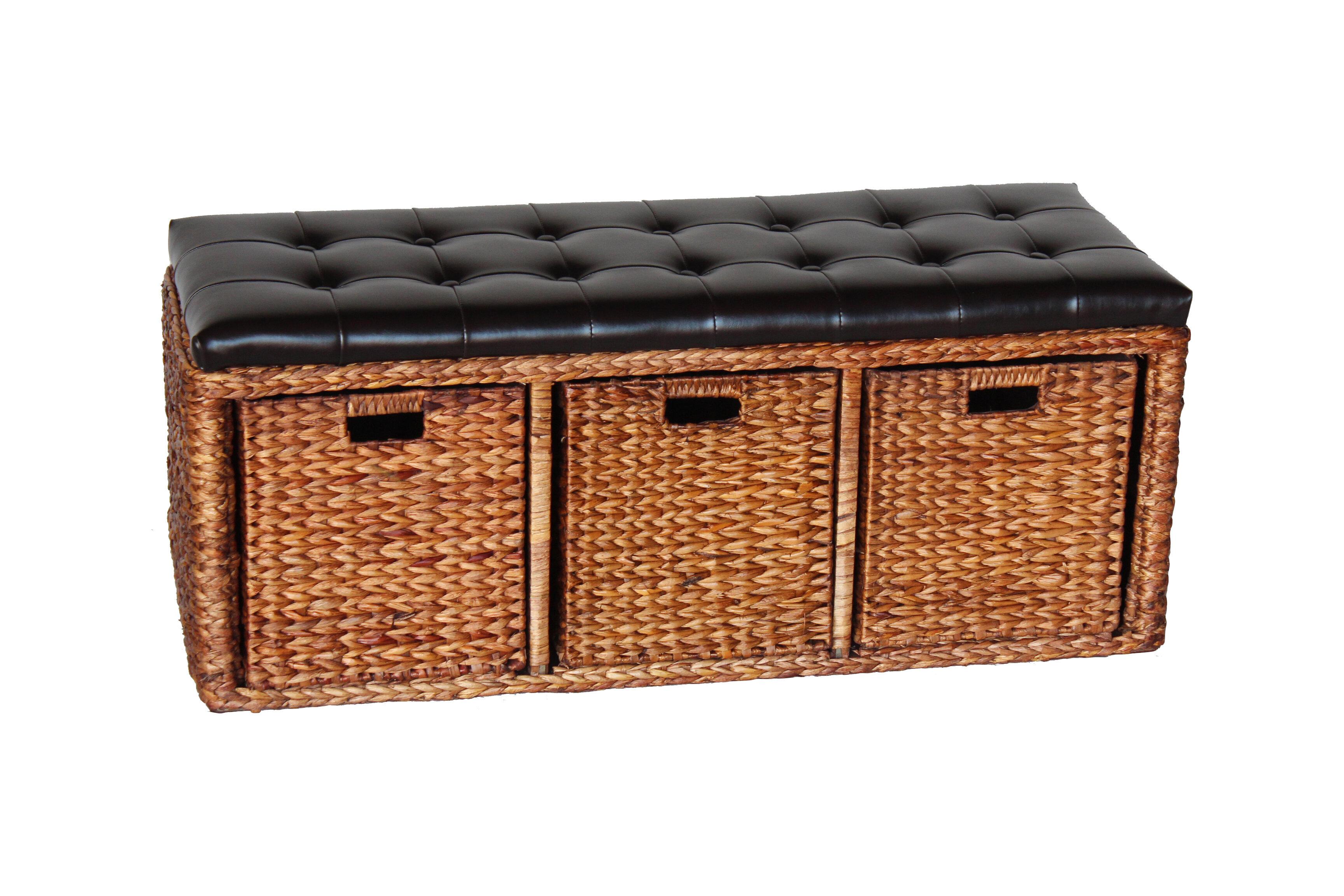 AttractionDesignHome Wicker Storage Bench   Wayfair