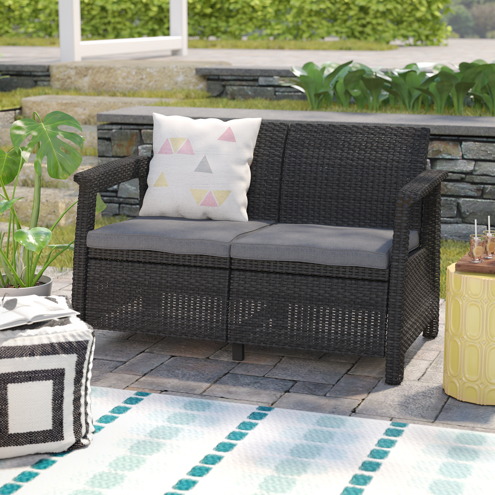 with wicker outdoor p loveseat hampton spring bay blue sky all haven weather cushions patio loveseats brown