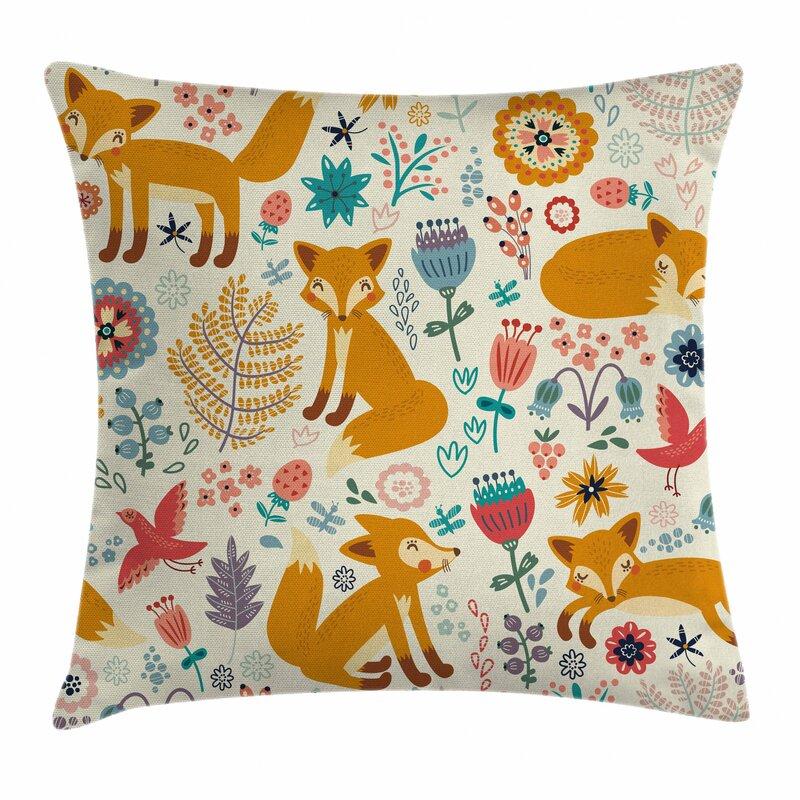 Ebern Designs Bayley Foxes Ornate Flowers Birds Outdoor Cushion Cover Wayfair Co Uk
