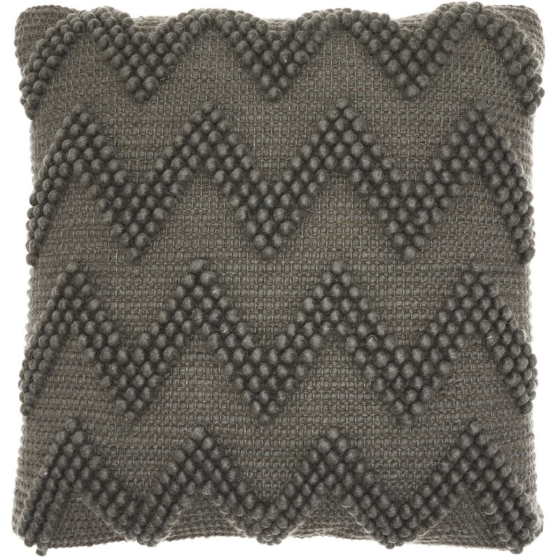 Breuer Chevron Pillow is a modern farmhouse style nubby accent for your boho or eclectic rustic modern living room. #pillows #chevron #charcoal #homedecor