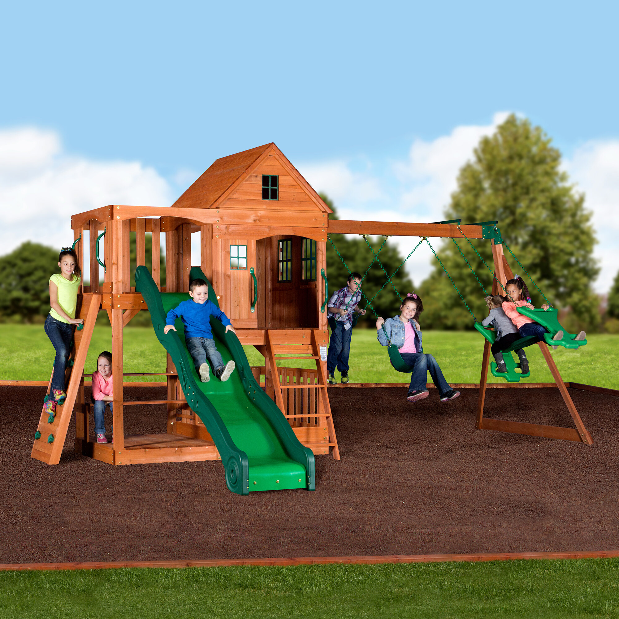 playset swingset backyard somerset cedar ii today discovery shenandoah all shipping wood set skyfort swing