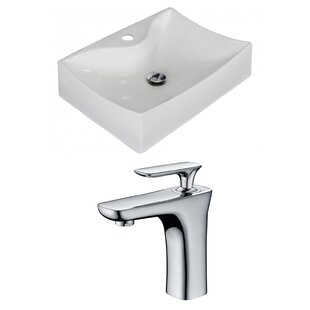 Best Reviews Ceramic 22 Wall Mount Bathroom Sink with Faucet By American Imaginations