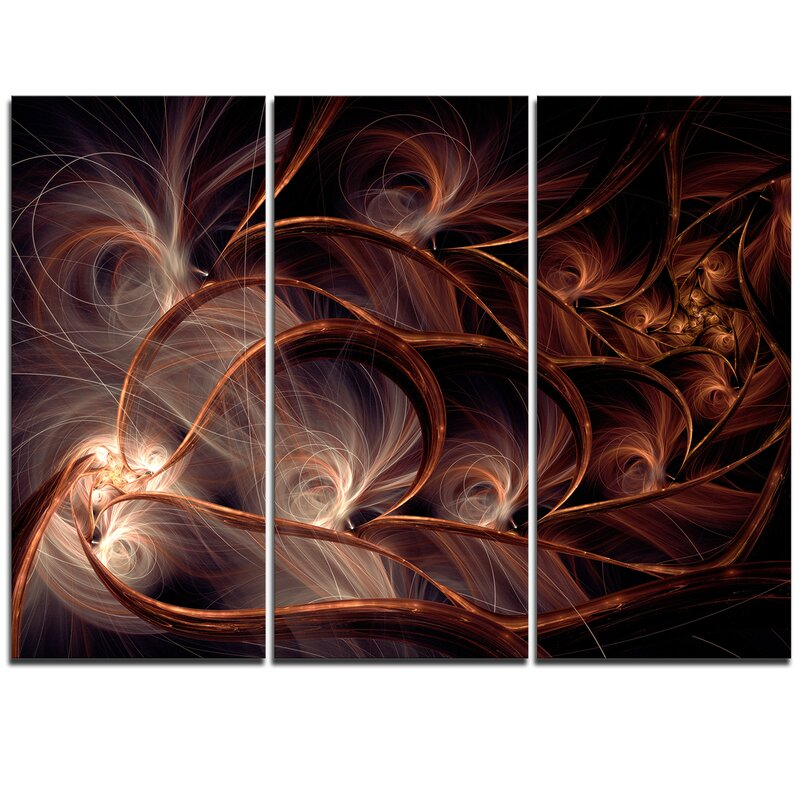 Designart Glittering Brown Fractal Flower On Black 3 Piece Graphic Art On Wrapped Canvas Set Wayfair