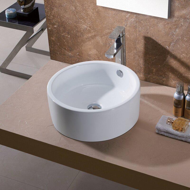 Luxier Porcelain Ceramic Circular Vessel Bathroom Sink With Overflow Wayfair