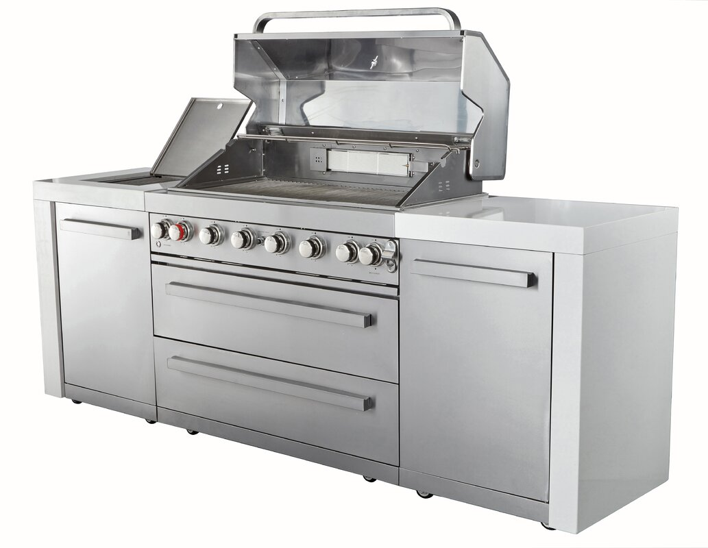 Mont Alpi 8-Burner Built-In Convertible Gas Grill with Cabinet ...
