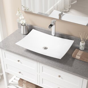 Inexpensive Vitreous China Rectangular Vessel Bathroom Sink with Faucet ByMR Direct