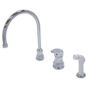 Kingston Brass Wyndham Single Loop Handle Widespread Kitchen Faucet with Spray