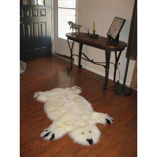 Inexpensive Designer Bear Animal Ivory Area Rug ByBowron Sheepskin Rugs