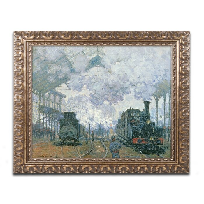 Saint Lazare station in Paris arrival of a train by Monet Giclee Repro on Canvas
