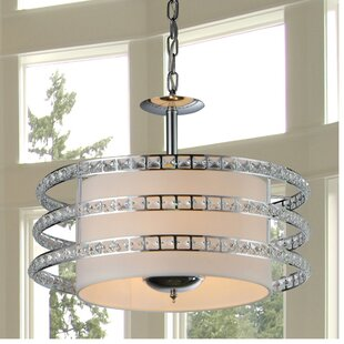 Ferdinand 3-Light Crystal Drum Pendant by House of Hampton