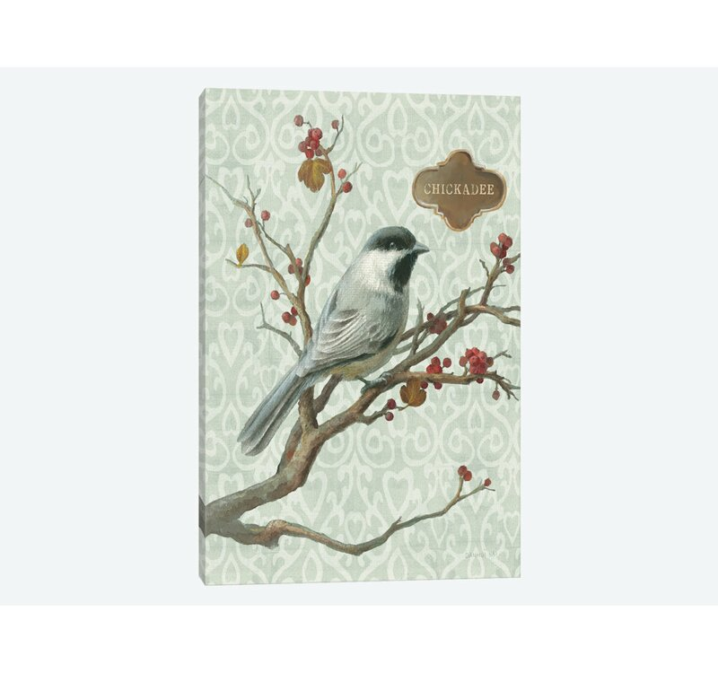 Global Gallery Danhui NAI Black Capped Chickadee on Gold Giclee Stretched Canvas Artwork 18 x 18