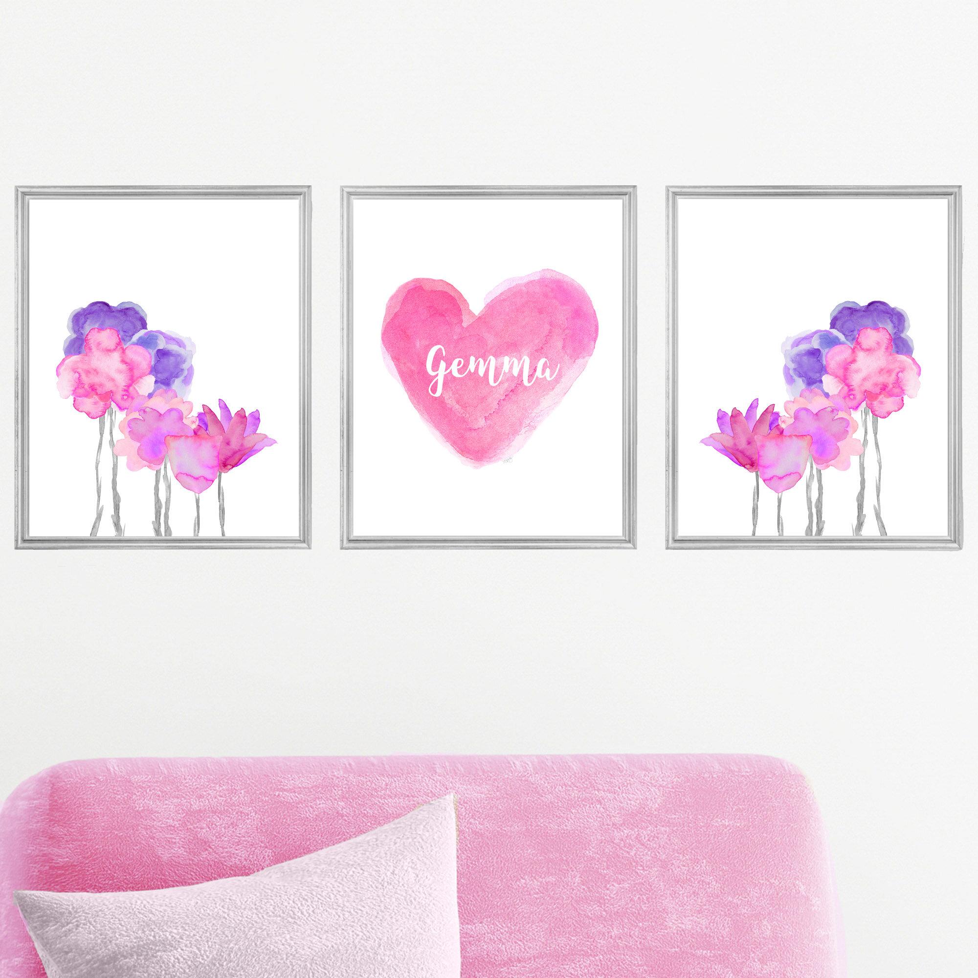 Outside In Art Studio Boho Flowers With Personalized Heart 3 Piece Paper Print Wayfair
