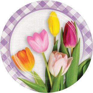 Hollister Tulips Paper Disposable Dessert Plate (Set of 24)