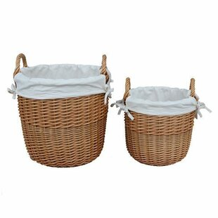 2 Piece Wicker Laundry Set With Cotton Lining By Brambly Cottage