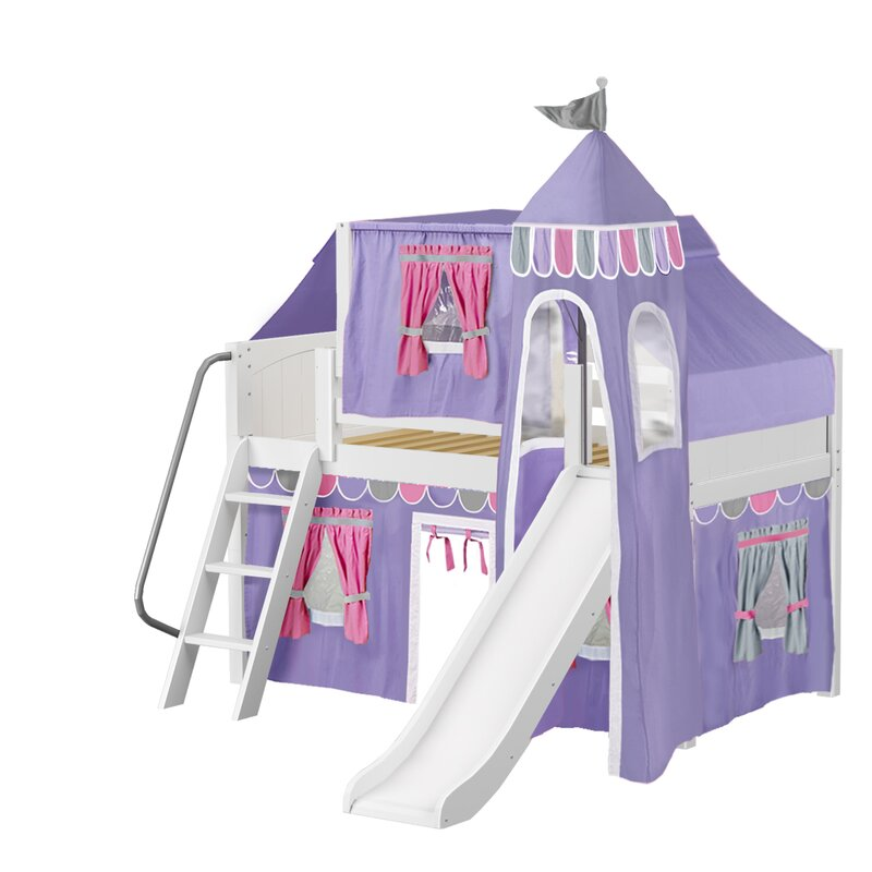 Wow Loft Bed with Slide Tent and Curtains  sc 1 st  Wayfair & Maxtrix Kids Wow Loft Bed with Slide Tent and Curtains u0026 Reviews ...