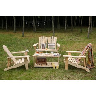 Spring Street Wooden Adirondack 4 Piece Sofa Set