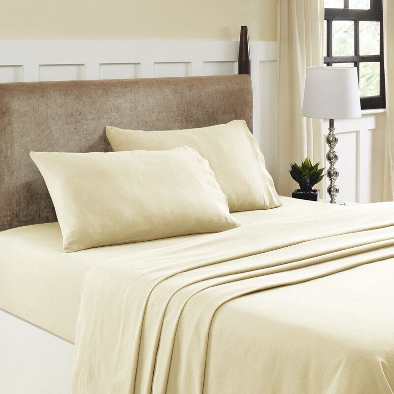 Simple Luxury Haus Home Charis Cotton Flannel Fleur De Lis 4 Piece Deep Pocket Sheet Set In Solid Ivory Wayfair