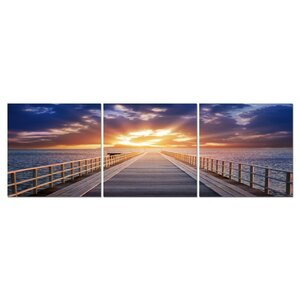 Baxton Studio Pier Sunrise Mounted 3 Piece Framed Photographic Print on Wrapped Canvas Set