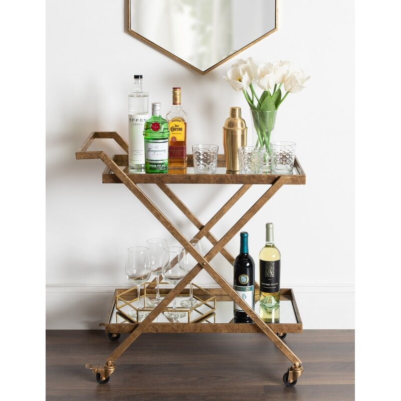 Curran 2-Shelf Metal and Mirror Tray Bar Cart