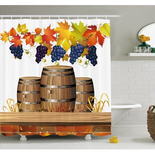 Grapes Wood Wine Barrels with Faded Autumn Leaves Fall Sunlight Design Shower Curtain Set by Ambesonne