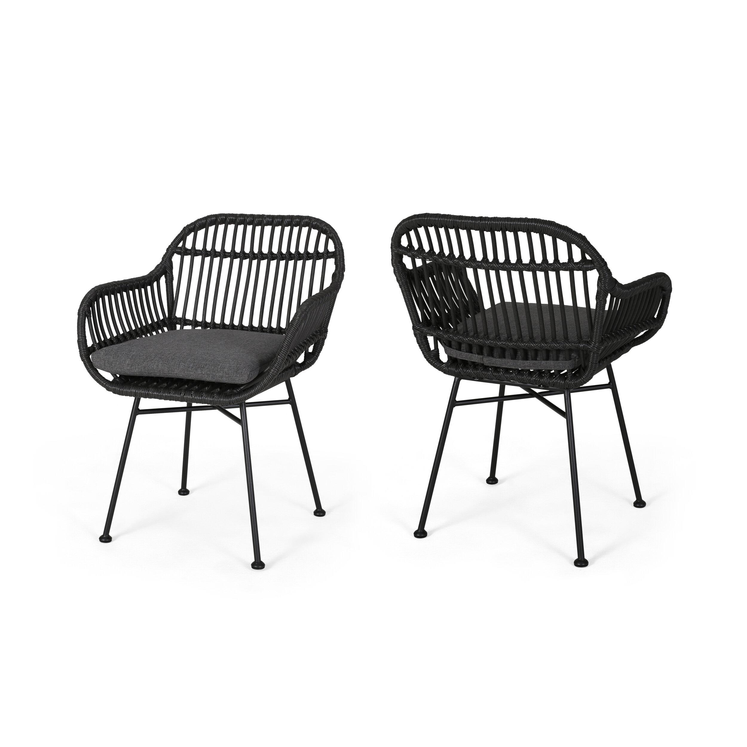 Awe Inspiring Maspeth Outdoor Woven Patio Chair With Cushion Machost Co Dining Chair Design Ideas Machostcouk