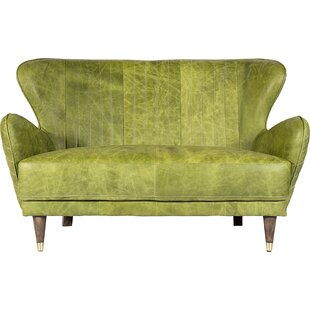 17 Stories Kait Leather Loveseat Sofa