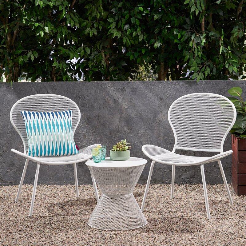 Ebern Designs Yoshida Modern Outdoor 3 Piece Seating Group & Reviews   Wayfair
