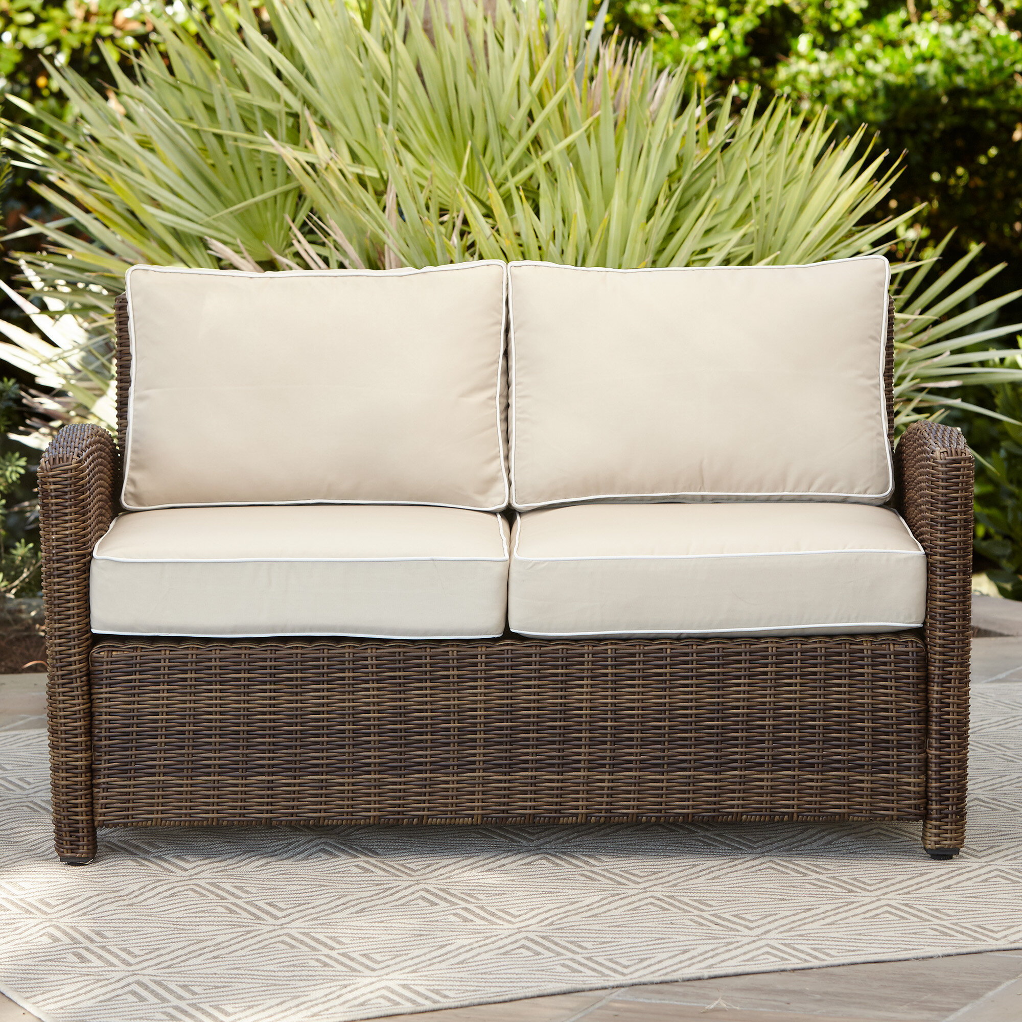 product outdoor over home on pillow garden free orders overstock loveseat shipping wicker tufted cushion perfect fresco