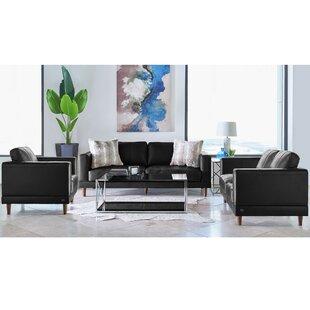 Fulks Genuine Leather Configurable Living Room Set by Mercury Row