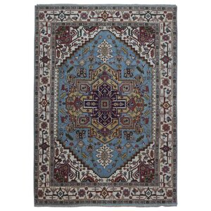One-of-a-Kind  Roselle Oriental Hand Woven Wool Blue/Red Area Rug