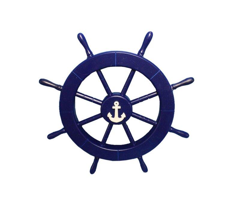 Ship Wheel With Anchor Wall Decor
