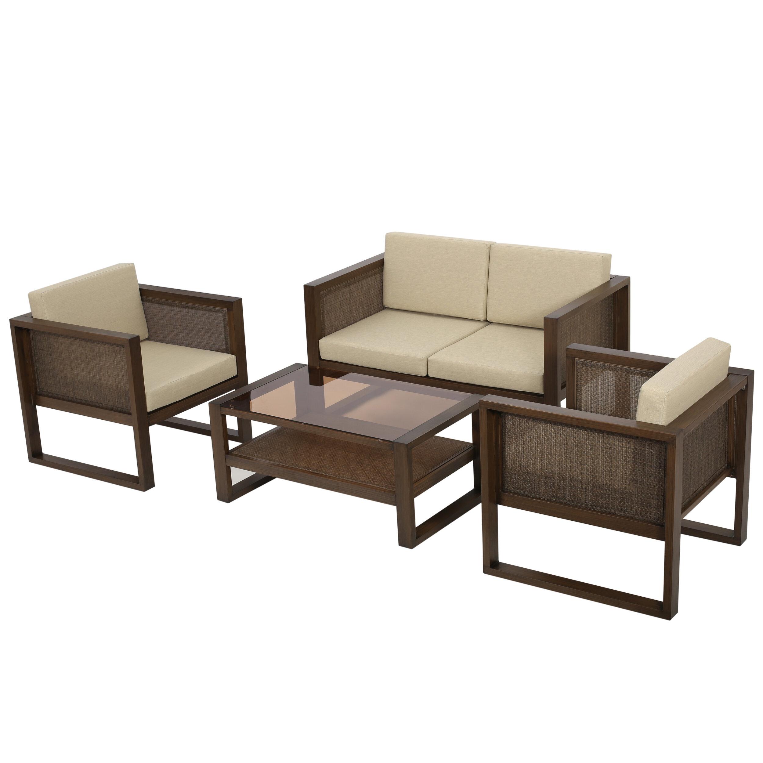 Corrigan Studio Valmonte 4 Piece Sofa Seating Group With Cushions Reviews Wayfair