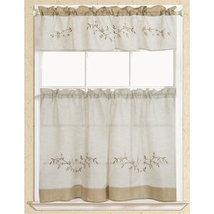 Rustic Embroidered Kitchen Curtain