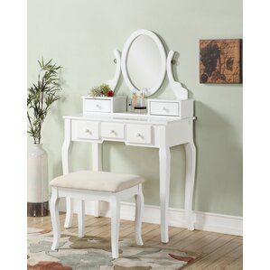 vanity set for teenager. Zeke Wood Makeup Vanity Set with Mirror Tables and Vanities You ll Love  Wayfair