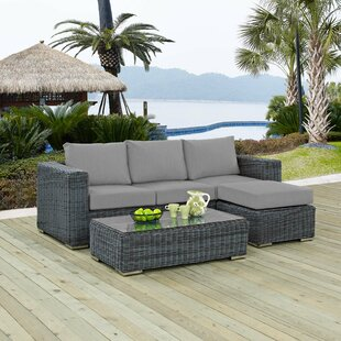 Alaia 3 Piece Rattan Sunbrella Sofa Seating Group with Cushions by Brayden Studio