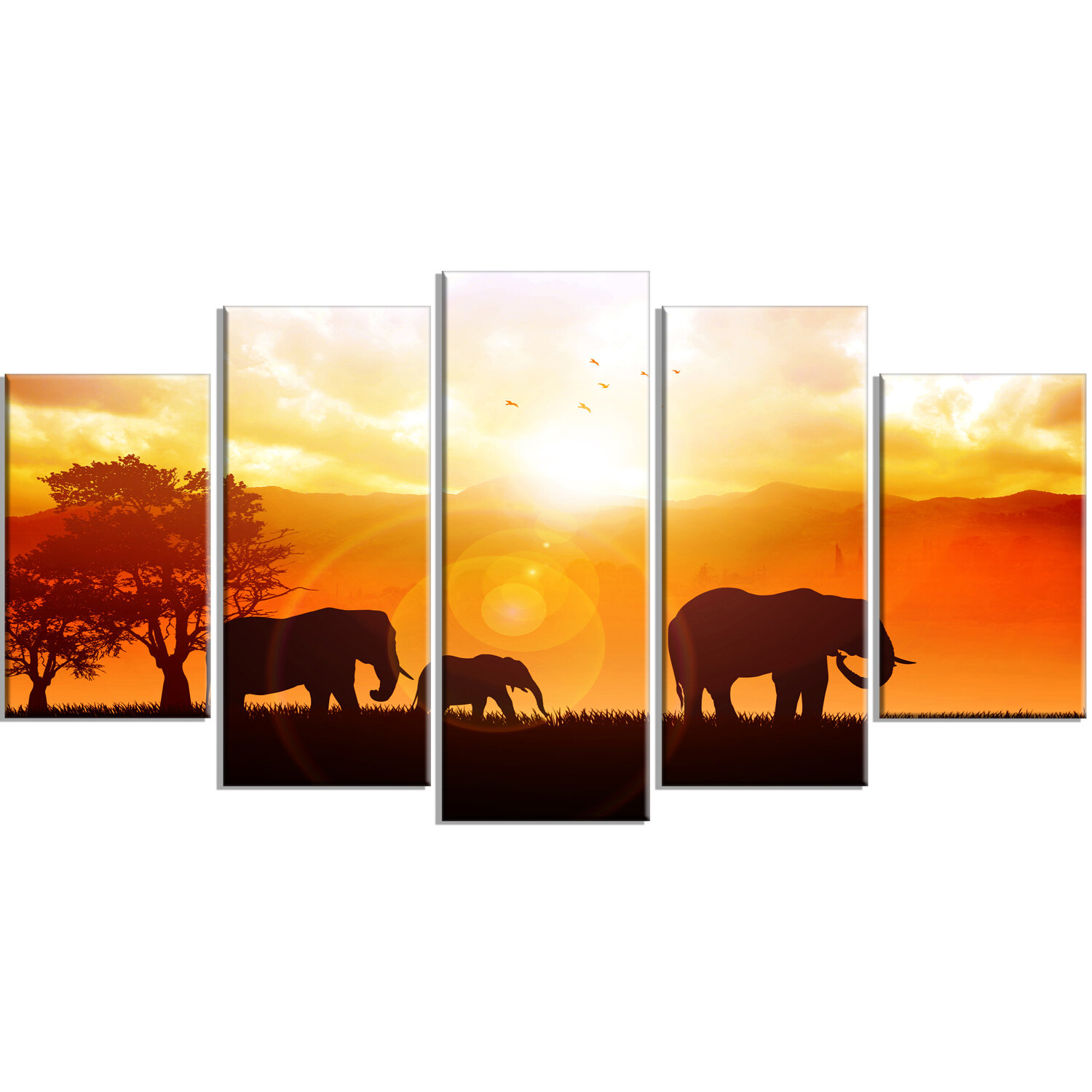 World Menagerie Elephants Walking At Sunset 5 Piece Photographic Print On Wrapped Canvas Set Wayfair