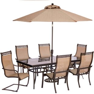Bucci 7 Piece Dining Set with Umbrella and Stand