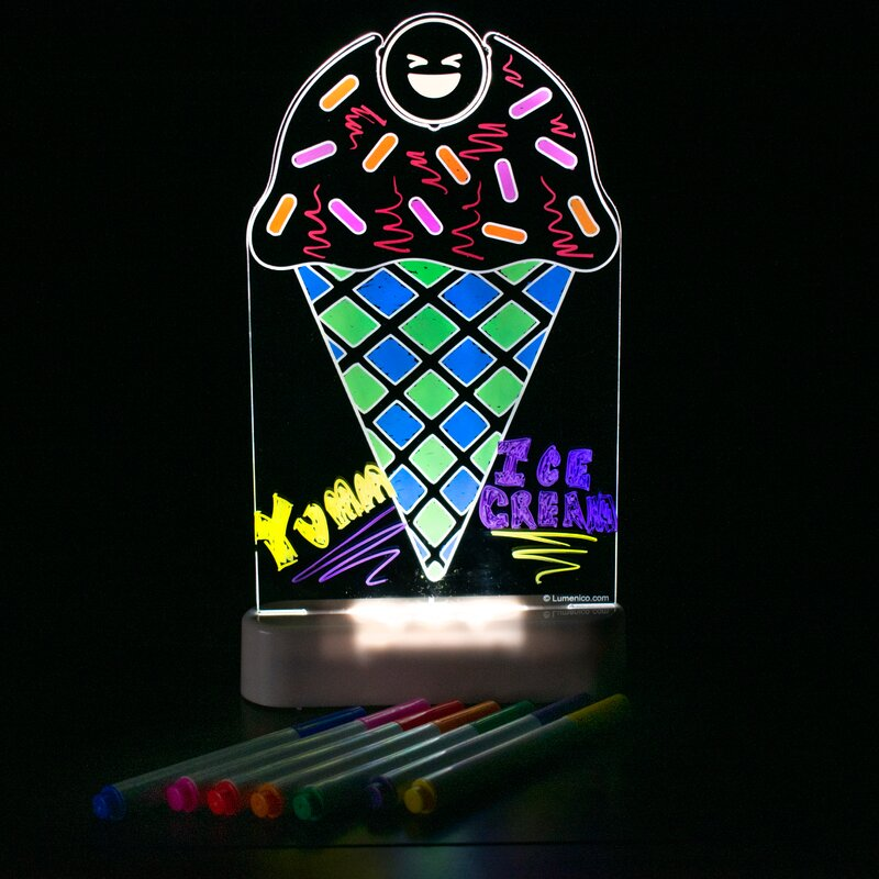 Ice Cream Cone LED Light Up Personalized Free Ice Cream Sign With Remote