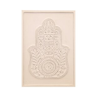 Hamsa Hand Embossed And Carved Wood Graphic Art