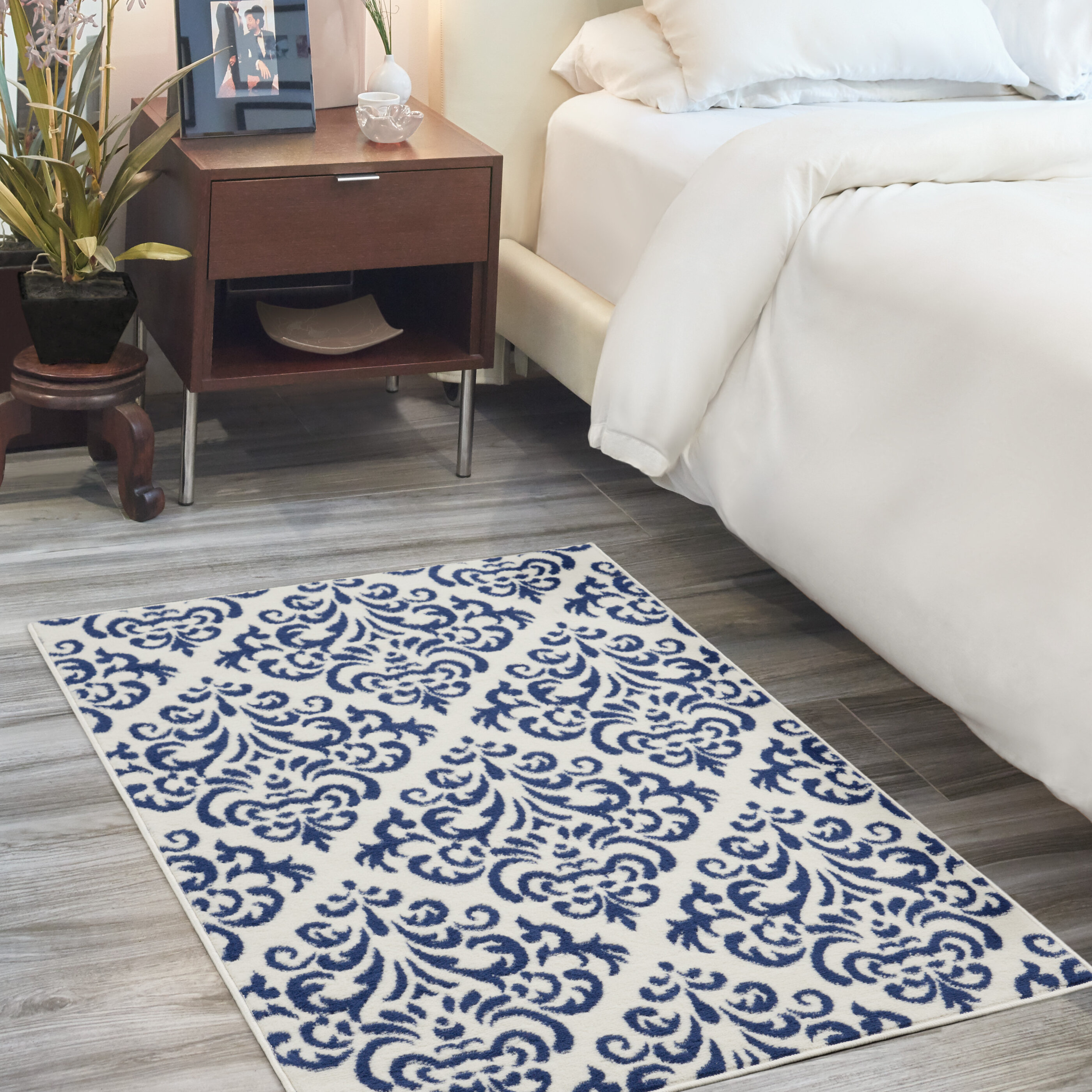 Picture of: Florissant Damask White Navy Blue Area Rug Reviews
