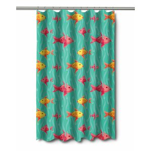 red and teal shower curtain. Coastal Red  Yellow Fish Shower Curtain Wayfair