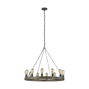 Basil 12-Light Wagon Wheel Chandelier by ..