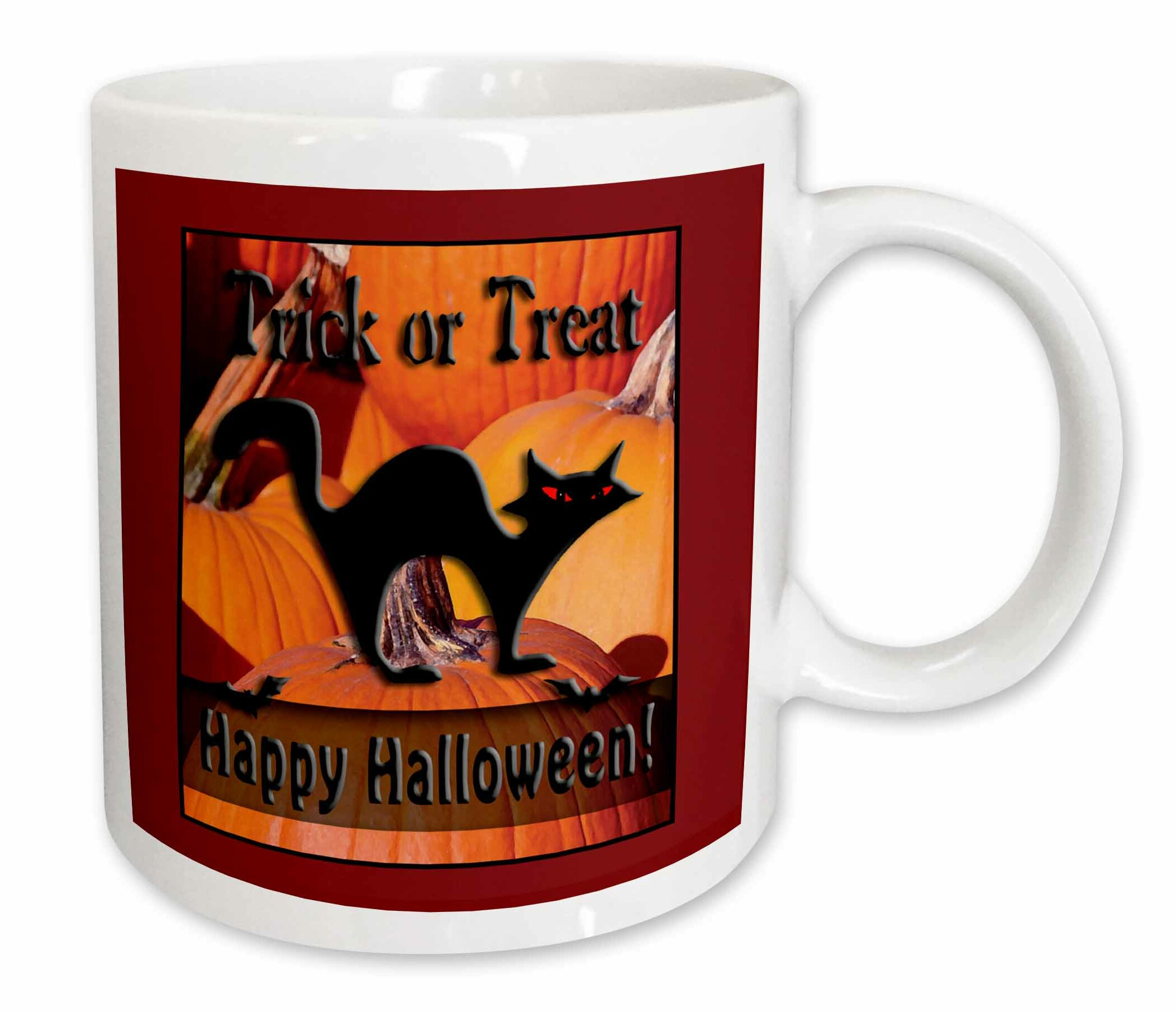 East Urban Home Cat On Pumpkins Trick Or Treat Happy Halloween Coffee Mug Wayfair